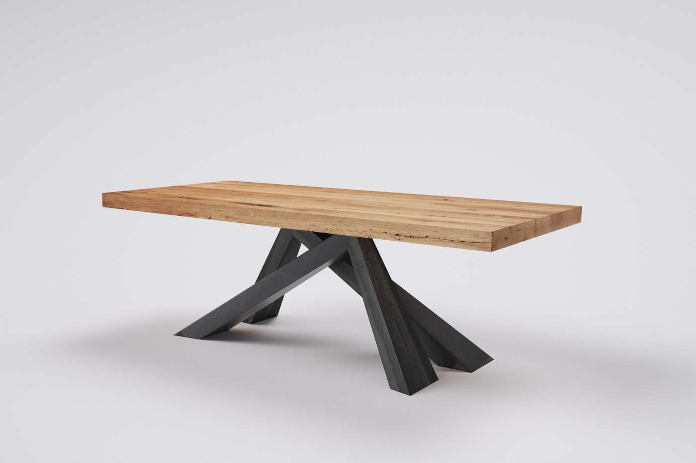 Holztisch altes Holz Eiche Niels mit Metallgestell