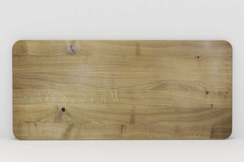Tischplatte Vollholz Eiche nach Maß mit gerundeten Ecken