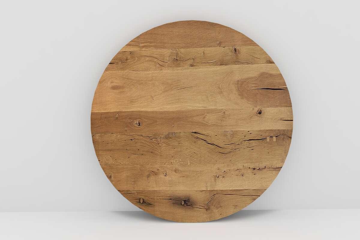 Runde Holzplatte aus alter Eiche | Wohnsektion