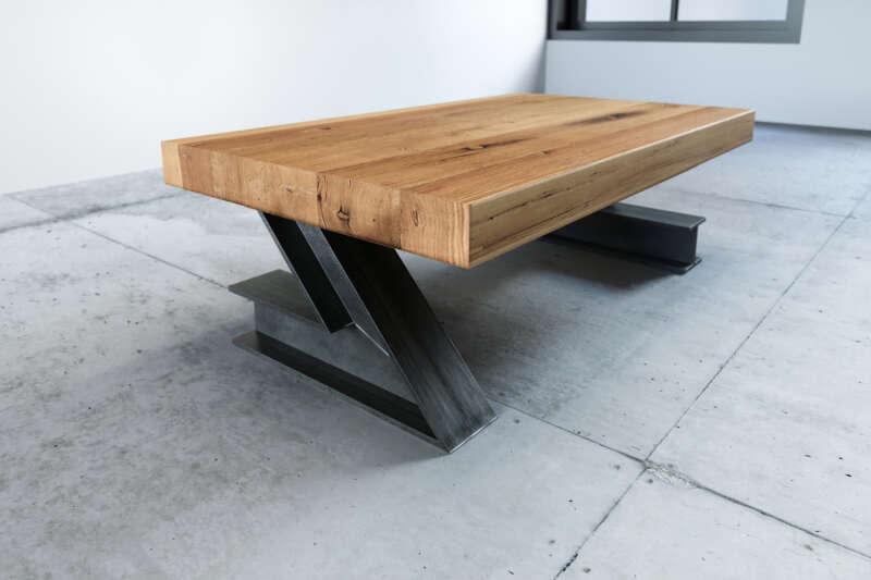 Industriedesign Couchtisch Eiche Altholz Z² nach Maß