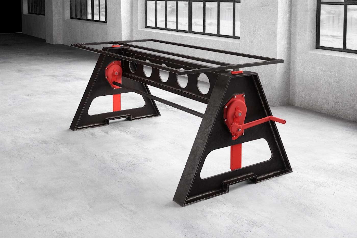 Tisch Untergestell höhenverstellbar aus Stahl massiv auf maß