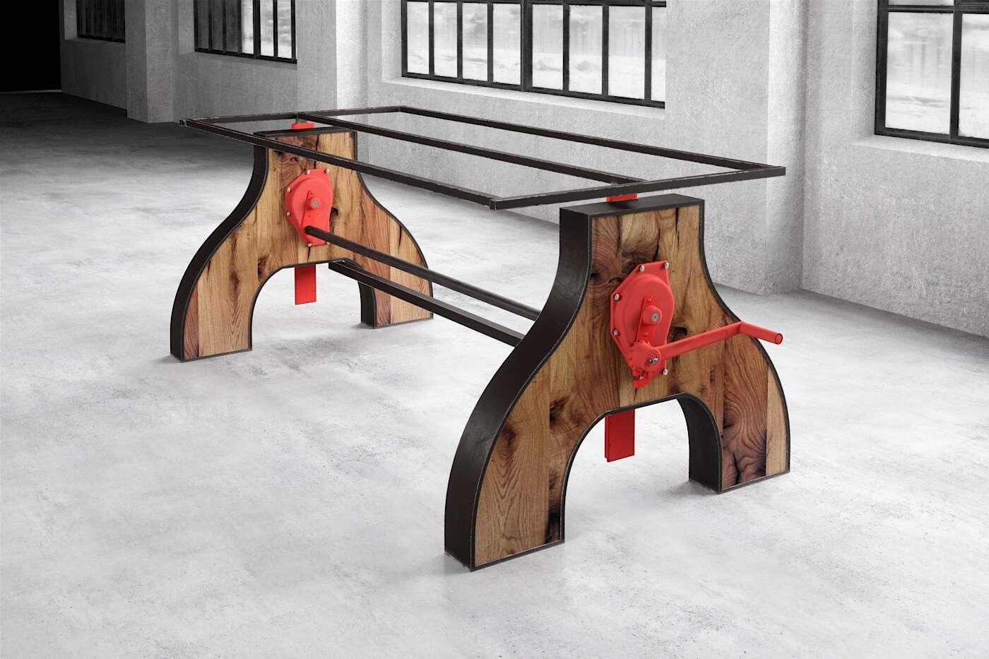 Industriedesign Tischgestell höhenverstellbar mit Altholz