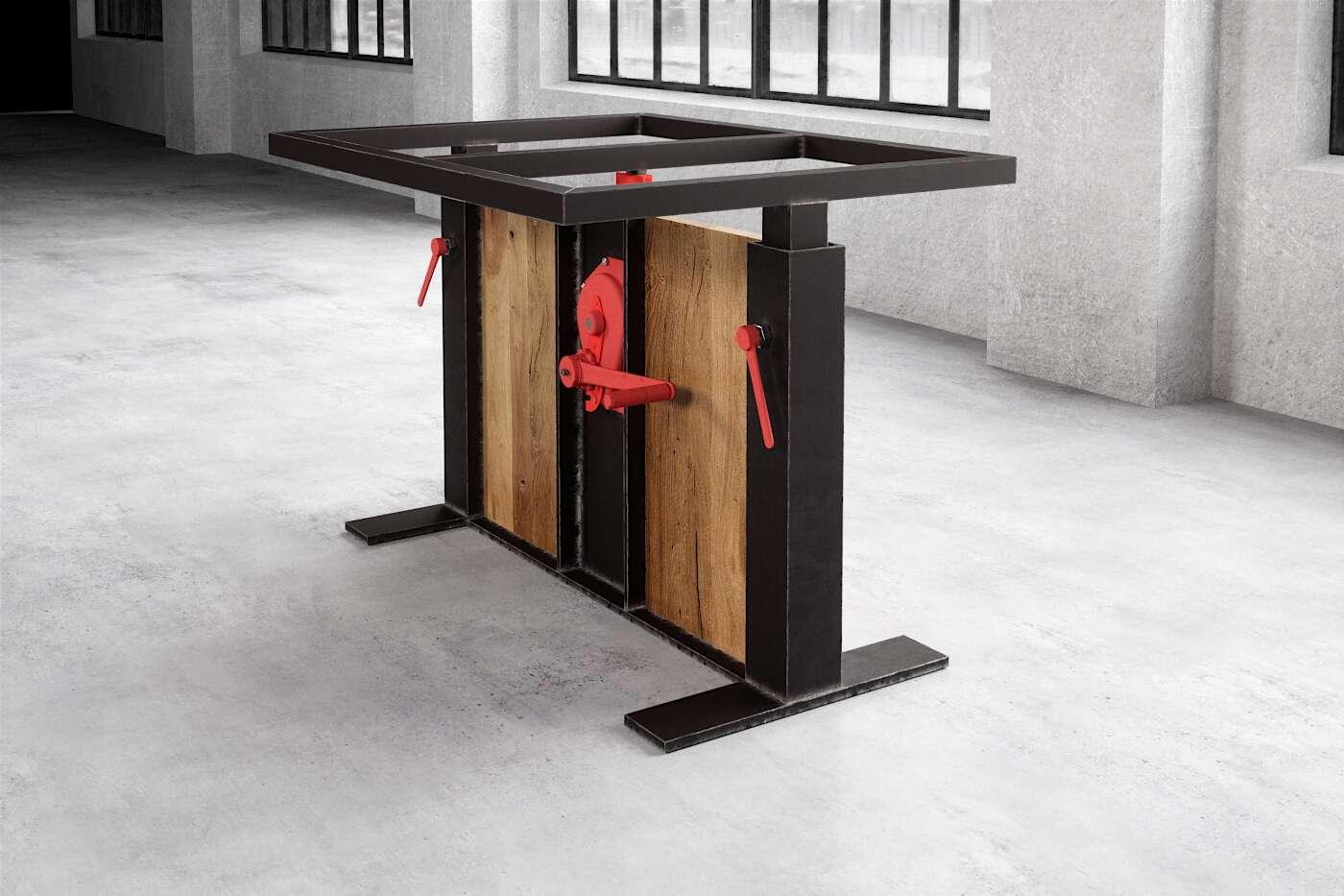 Esstisch Tischgestell Holz Stahl kombiniert nach Maß Compus