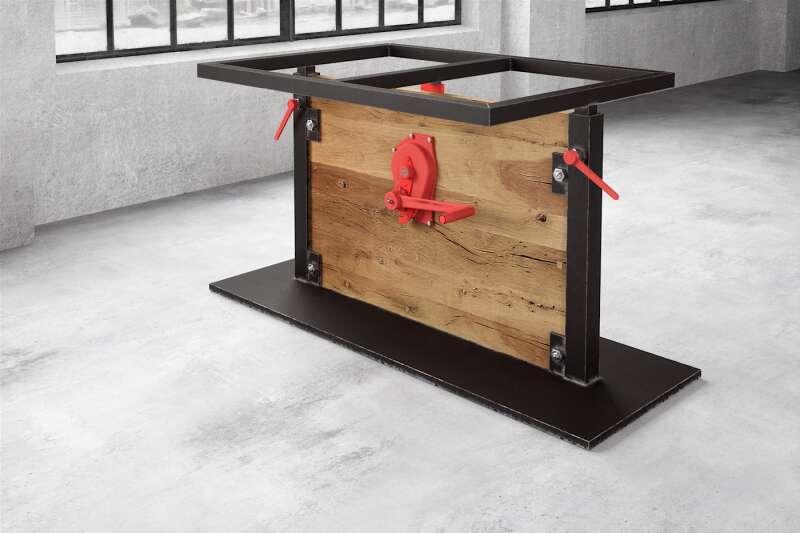 Mittelfuß Holz/Stahl Tisch höhenverstellbar Nardon
