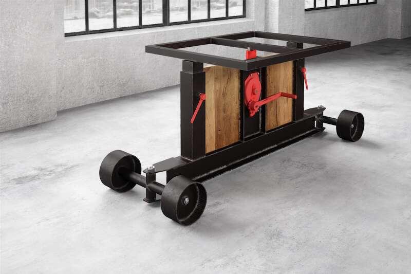 Stahl und Holz Tischgestell auf Rollen Elevator