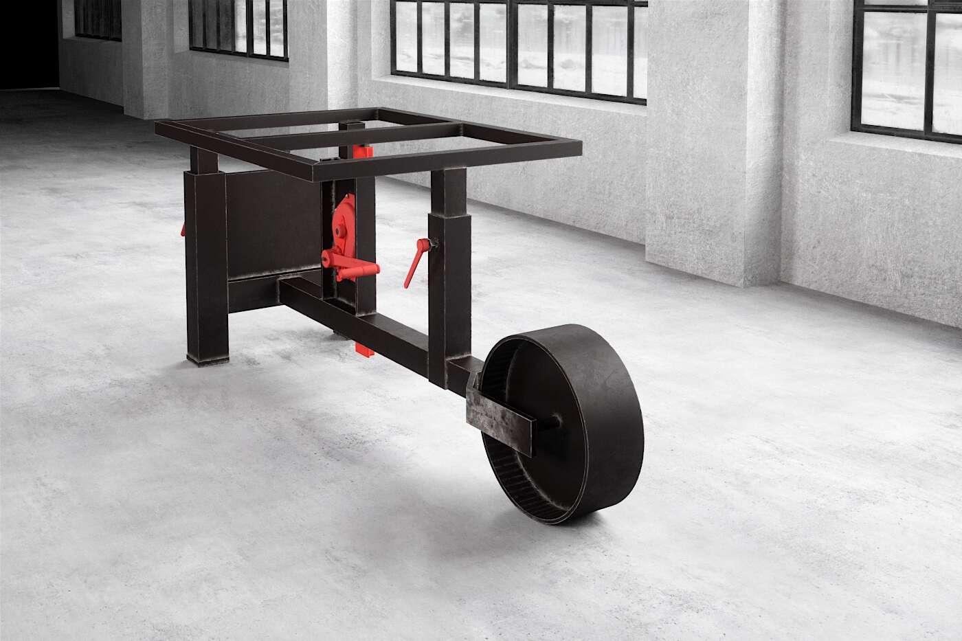 Tisch Untergestell rollbar und höhenverstellbar aus Stahl