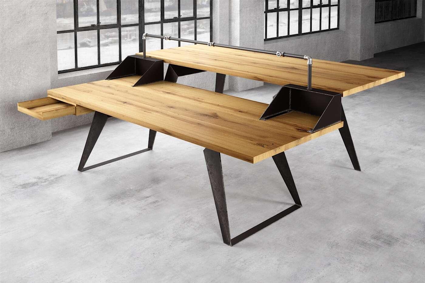 DJ Tisch mit Schreibtisch Rewi Eiche nach Maß