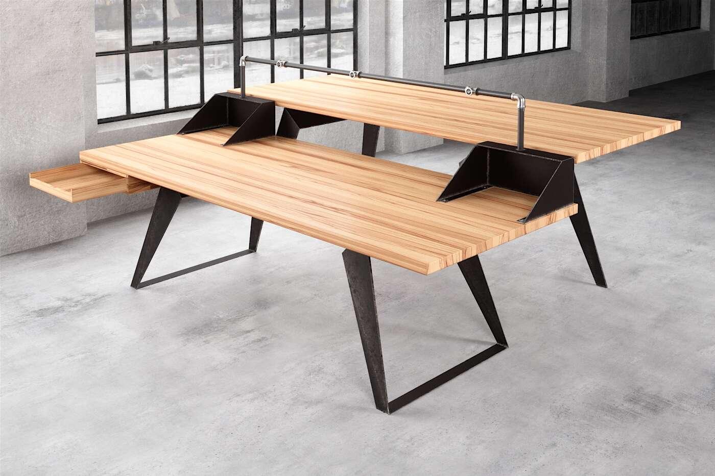Tisch für Dj Massivholz Buche nach Maß