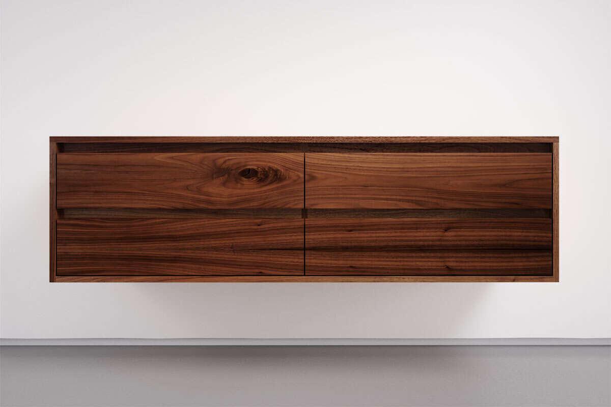 Sideboard zum Aufhängen Nussbaum massiv mit 4 Schubladen