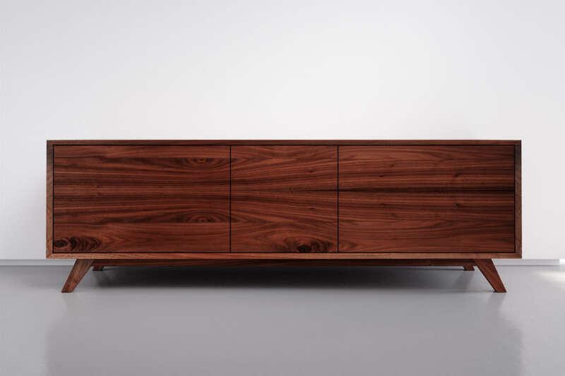 Nussbaum Sideboard modern mit 3 Schubladen