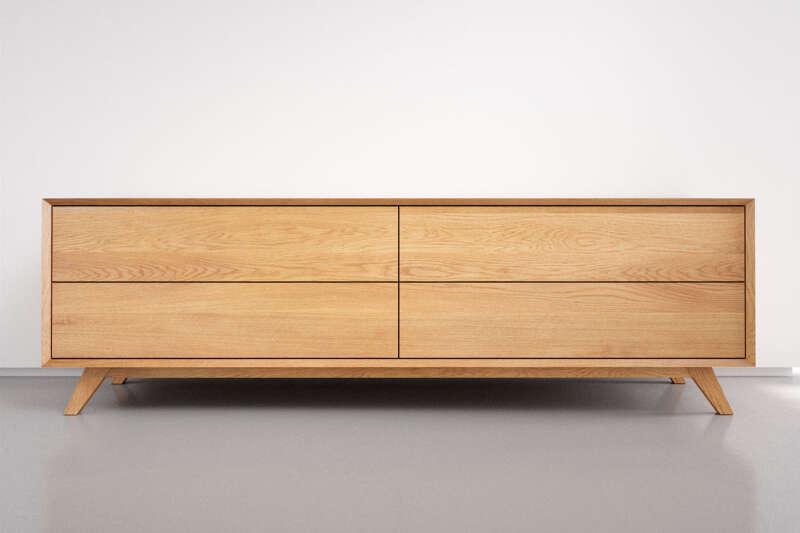Sideboard Eiche massiv mit 4 Schubladen nach Maß
