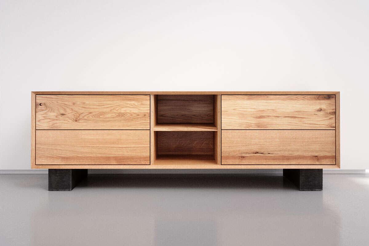 Eiche Massivholz-Sideboard mit 4 Schubladen und offenem Fach