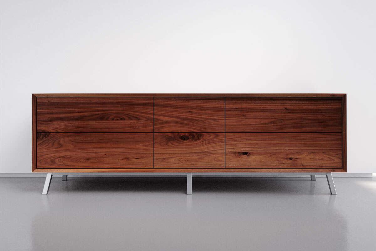 Massivholz Sideboard modern Nussbaum mit 6 Schubladen