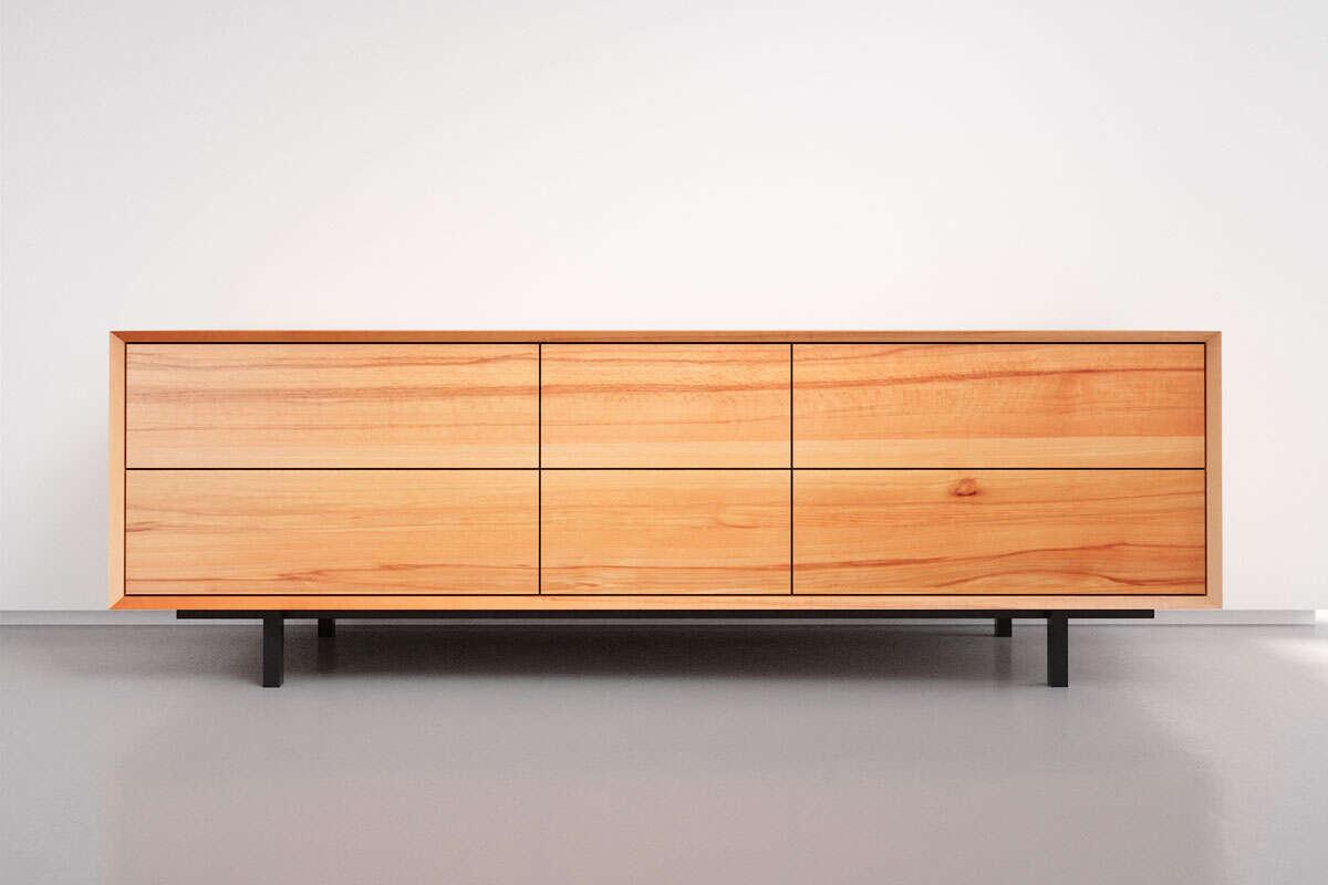 Sideboard Holz massiv auf Gehrung mit 6 Schubladen