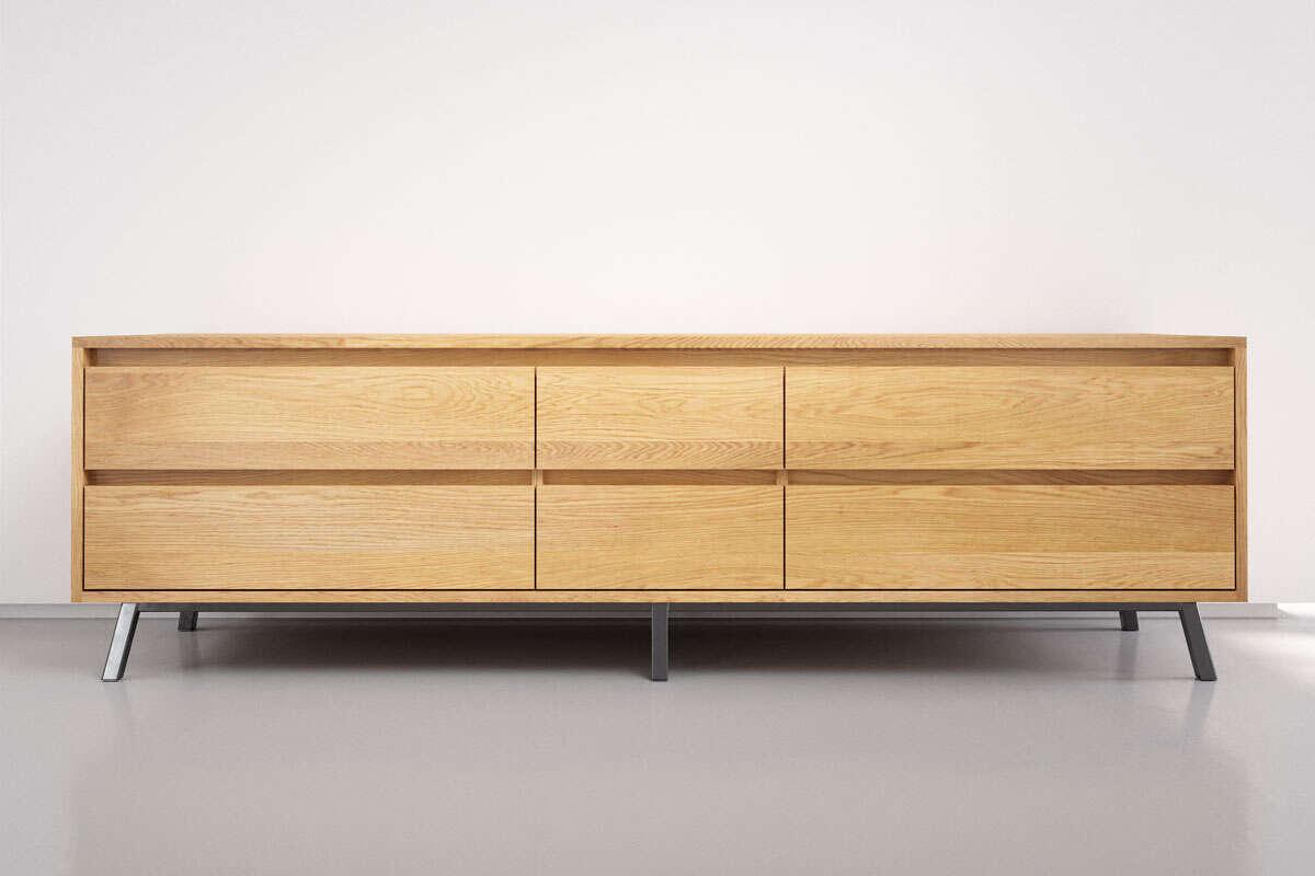 Wohnzimmer Sideboard modern in Eiche massiv