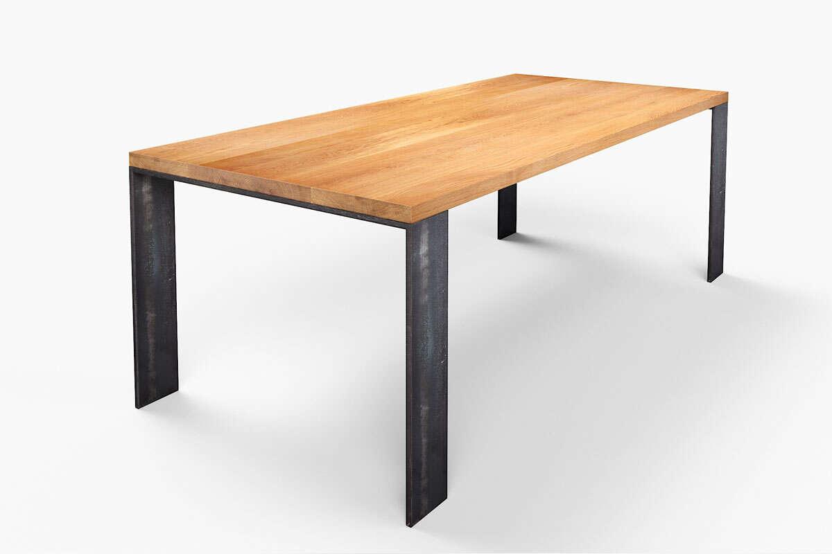 Echteiche Esstisch Hartok modern mit Metall-Tischfüßen