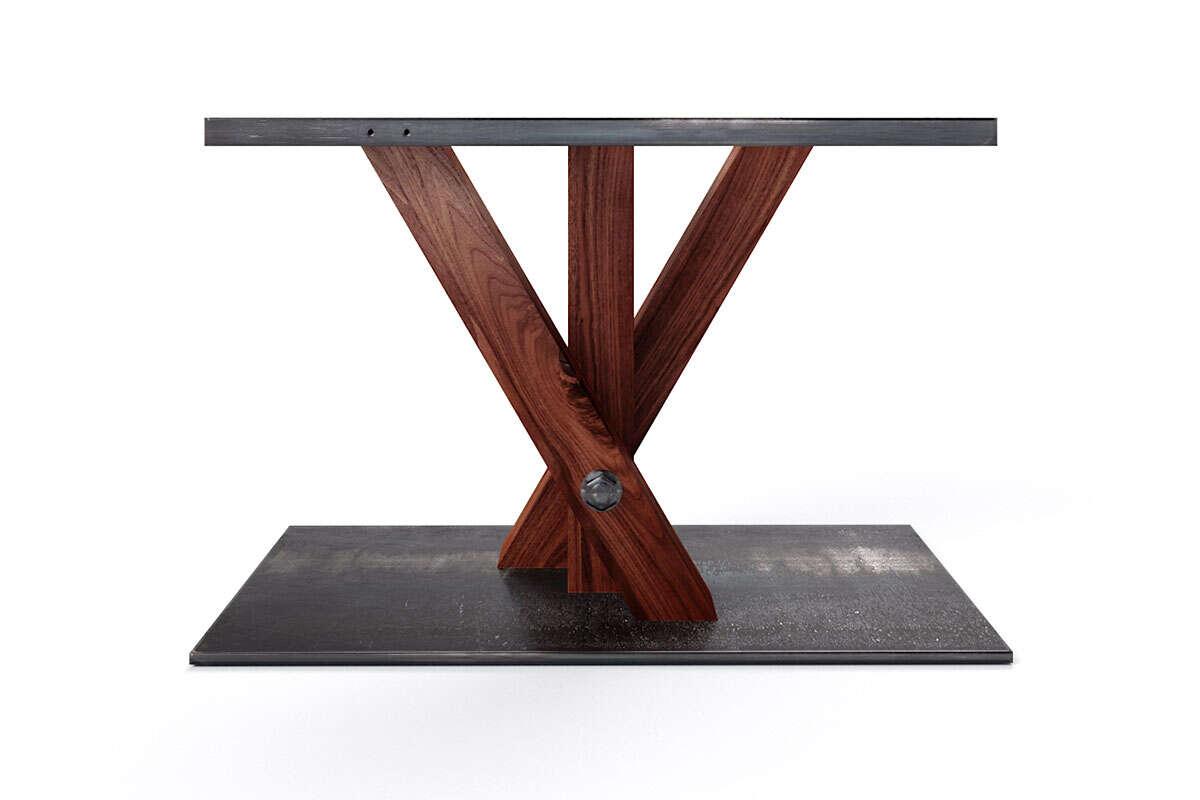 Nussbaum Tischgestell gekreuzt in Fächerform
