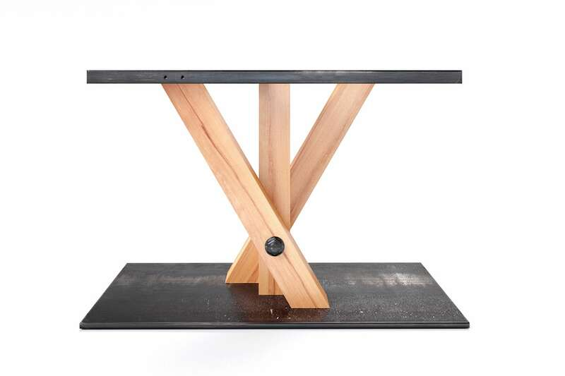Mittelfuß Tischgestell gekreuzt Wildbuche