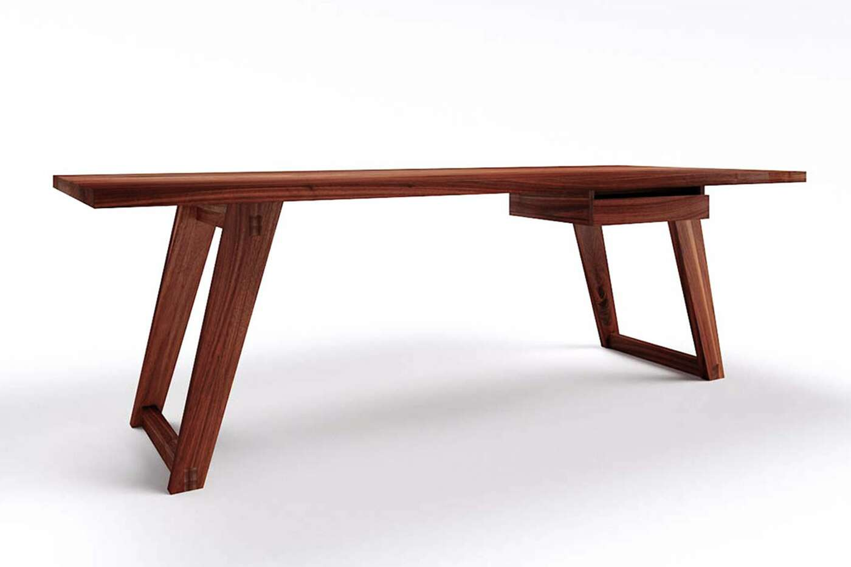 Massivholz Schreibtisch Kenan Nussbaum