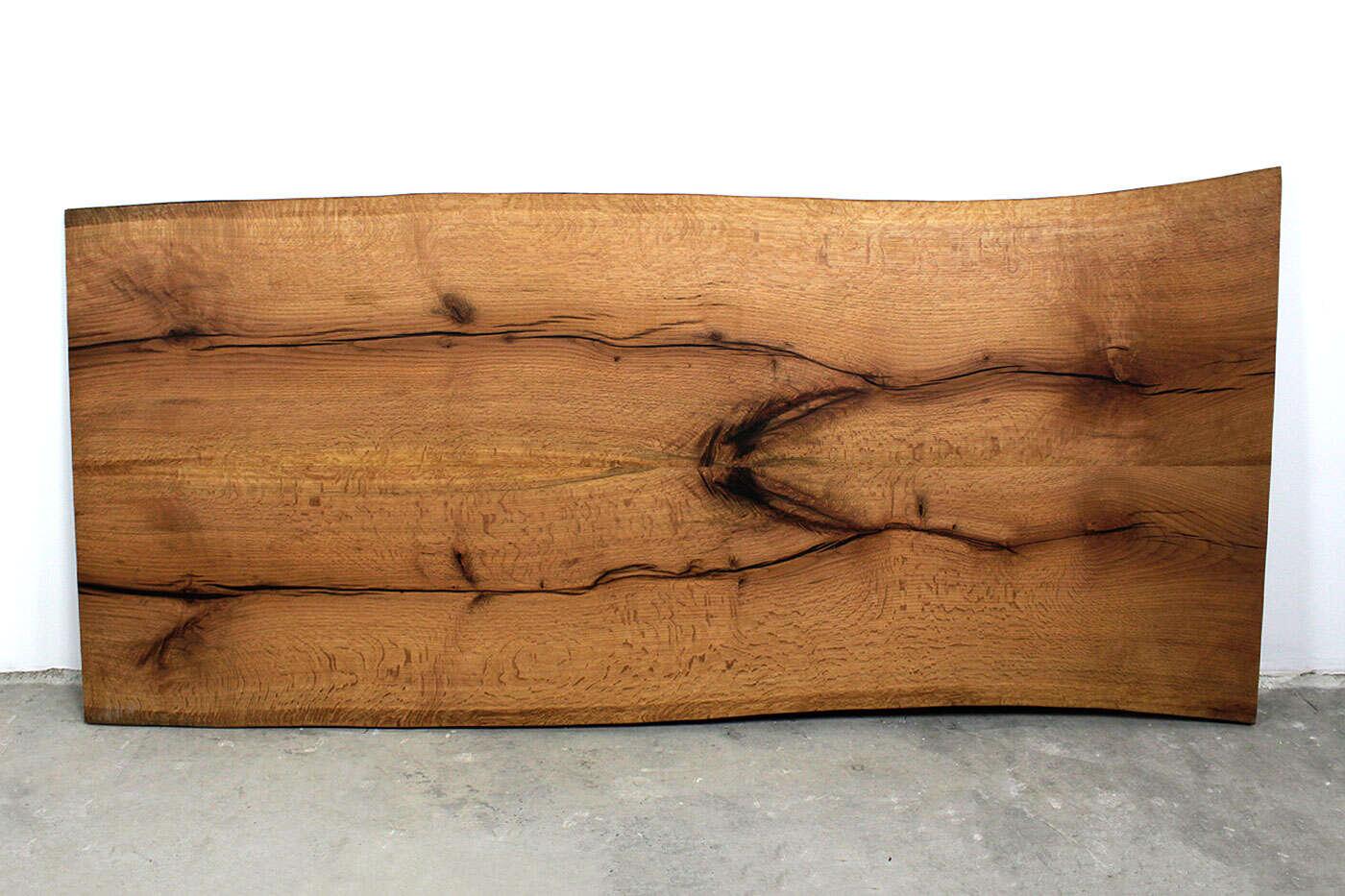 Tischplatte mit Baumkanten Eiche Twin verleimt 250 x 112cm