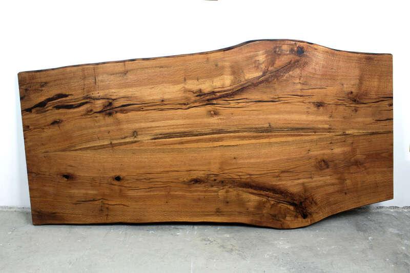 Tischplatte mit Baumkante Eiche 250 x 113cm