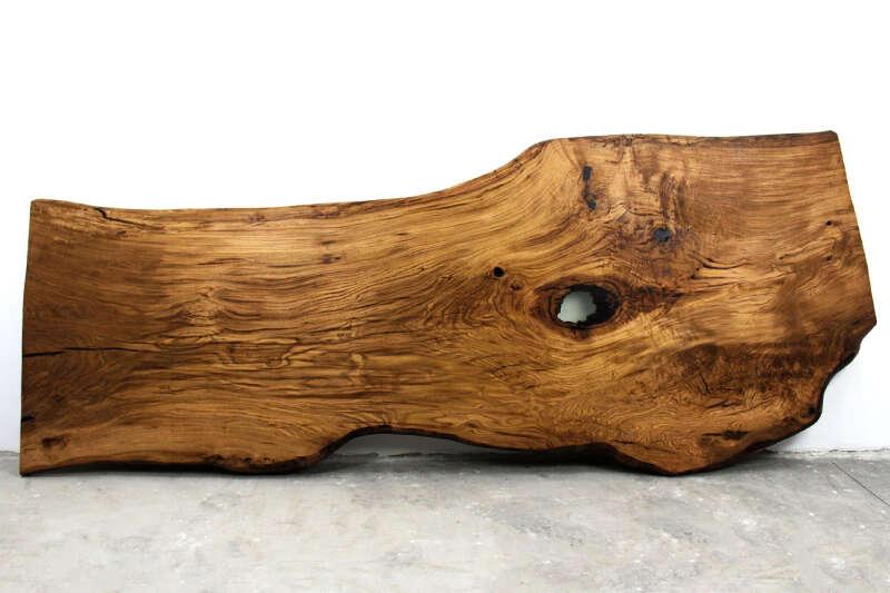 Baumscheiben-Tischplatte Eiche im XL Format 361 x 139cm
