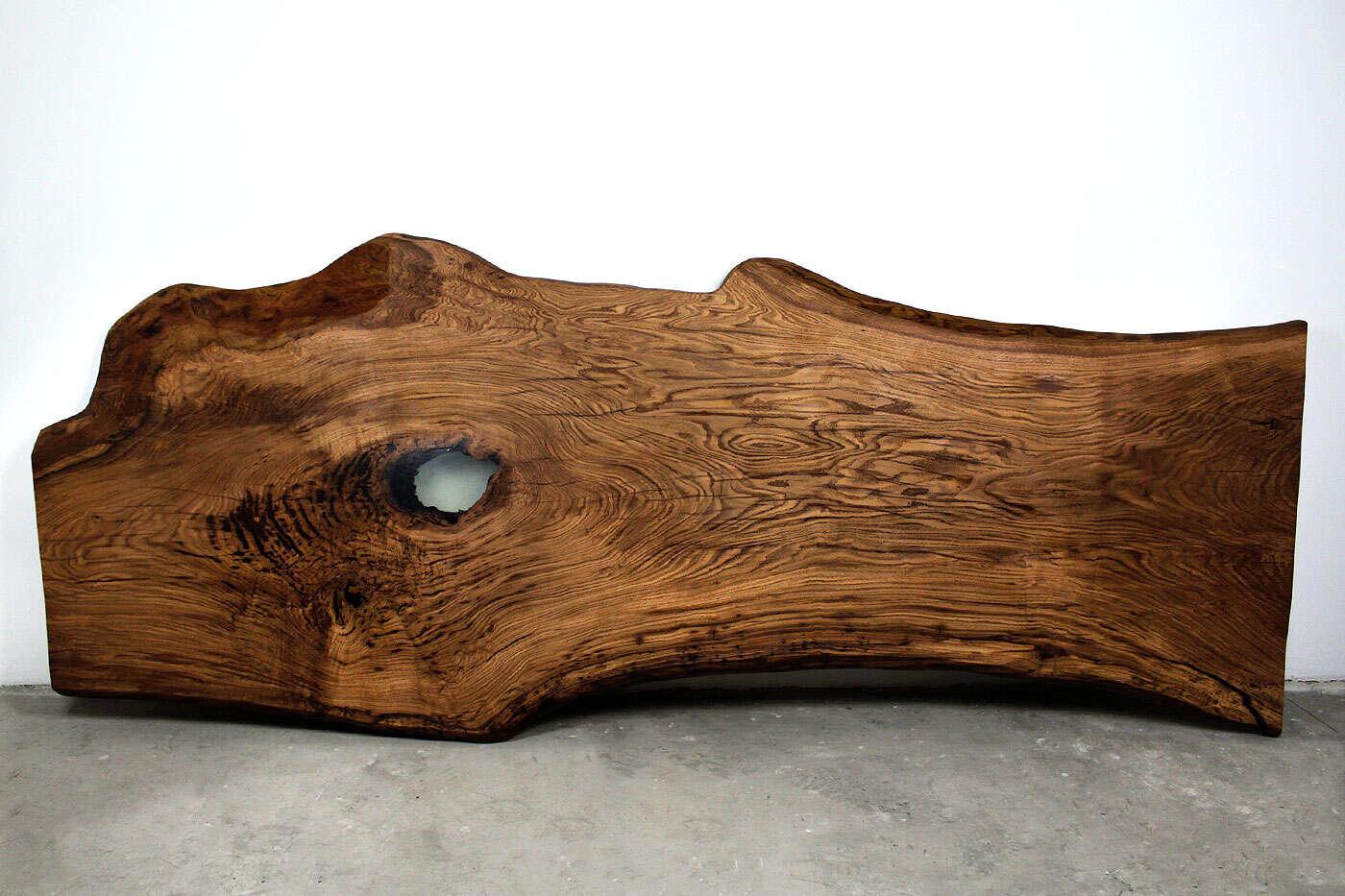 Epoxy Baumscheibe XL aus Eiche 352 x 137cm