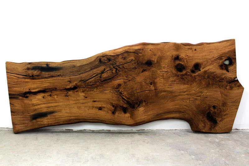 Tischplatte Baumscheibe Eiche 373 x 141cm