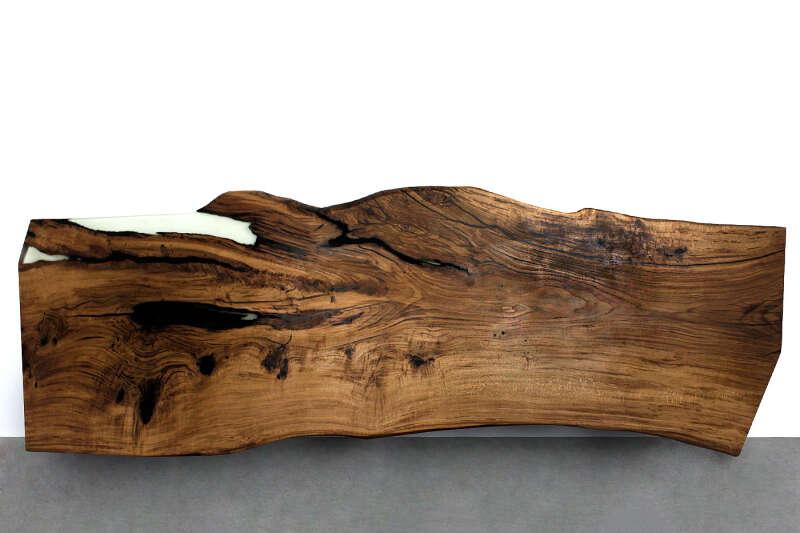 Epoxy Baumscheiben Platte Eiche massiv 381 x 119cm